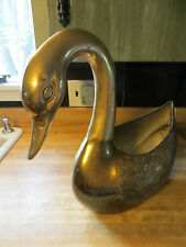 Huge BRASS Swan or goose waterfowl very heavy wildlife planter or paper holder