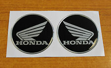 Honda Wings stickers/decals-60mm chrome/black-HIGH GLOSS DOMED GEL FINISH