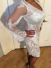 Boho White Lace Dress w/ Semi Sheer Slip & Bell Sleeves Pirate Booty Nightcap M