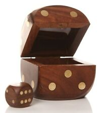 Classic Wooden Box & 5 Yahtzee Craps Gaming Game Die Dice Shaker Gift Travel Set