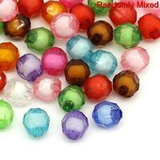 100  Acrylic Faceted mixed Spacer beads 8mm Random Mix