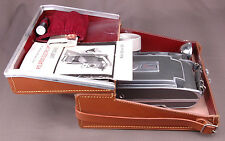Vtg Polaroid 900 Electric Eye Land Camera-w Flash-Top Grain Leather Case-Paper