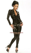 Black Metallic Womens Black Bodysuit Catsuit Zip Up Halloween Costume / S-2xl