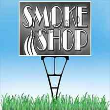 "18""x24"" SMOKE SHOP Outdoor Yard Sign & Stake Lawn Vapors E-Cig Cigarettes Hookah"