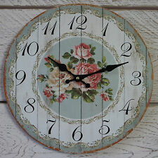 Shabby Chic Rustic Round Wooden Wall Clock Duck Egg Blue White Floral Pink Rose