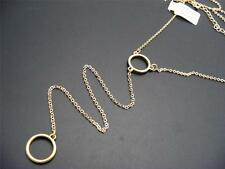 """$16 Nordstrom Dainty Goldtone Double Circle Lariat Necklace Chain 23"""" Long"""