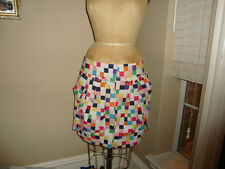 Anthropologie ODILLE Colorful Square check printed Skirt CUTE 12