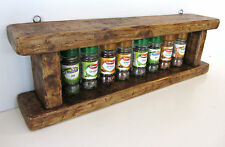 60CM HANDMADE DISTRESSED PLANK WOOD RUSTIC BROWN WAXED SPICE RACK KITCHEN SHELF