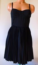 Sexy PIN UP NWT Anthropologie Greylin Accordion Pleat LITTLE BLACK Dress SMALL