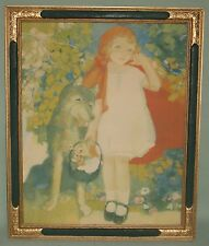 EARLY FRAMED PRINT 'LITTLE RED RIDING HOOD & WOLF' ORNATE WOOD & COMPO FRAME