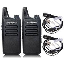 2pcs Zastone ZT-X6 Walkie Talkie Radio + Earpiece UHF400-470MHz 16CH Portable