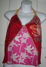 RINGSPUN LOVE ROSY CHEEKS Red/Pink 100% Silk  Halterneck Top  Size -12/40