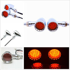 One Pair Chrome Housing 20LED Red Motorcycle Stop Brake Lights Turn Signal Lamps
