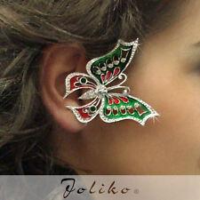 JoliKo Ohrklemme Ear cuff Butterfly Grüne Emaille Schmetterling Papillon LINKS