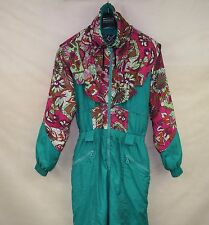 SARE FLOWERED VINTAGE RETRO WOMENS SKI SUIT ONE PIECE EU-42 ALL IN ONE SNOW SUIT