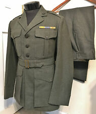 ORIGINAL WWII USMC US MARINE CORPS DRESS GREEN UNIFORM JACKET & TROUSERS- NAMED