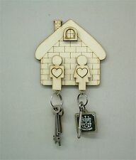 House Warming Wooden Plywood House Key Holder Man & Woman Wedding Gift Birthday