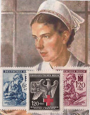 Nazi Germany soldier + Nursing + Red Cross eagle stamps