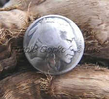 Genuine Navajo Made Buffalo Indian Head Nickel Button GNNS 5590