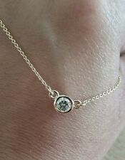 "14k Yellow Gold Diamond Solitare bezel Pendant  Necklace 16""/ Italy /1.4 gram"