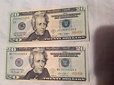 2-$20 FEDERAL NOTES FANCY SERIAL STRAIGHTS 2009 & 2013 MA75140326A  JC29687130D