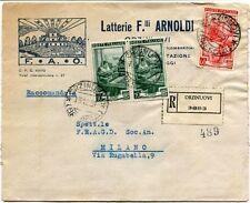 1951 Italia al Lavoro RACCOMANDATA Latterie F.lli Arnoldi FAO Orzinuovi Brescia