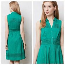 Anthropologie Maeve Green Swiss Dot Embroidered Shirtdress Size 6