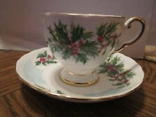 TUSCAN TEA CUP AND SAUCER - BIRTHDAY FLOWERS - DECEMBER HOLLY PATTERN