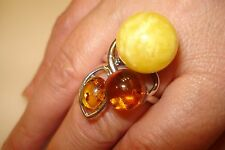 Sterling Silver 925 Tricolor Genuine Amber Gemstone Ring Size:9.25