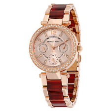 Michael Kors Mini Parker Multi-Function Rose Dial Rose Gold-plated and Amber