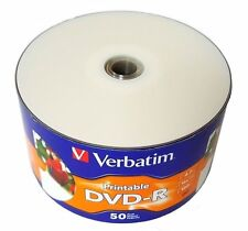 50 VERBATIM Blank DVD-R DVDR 16X 4.7GB White Inkjet Printable Media Disc