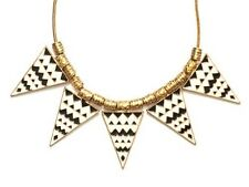 Zig Zag Triangle Bib Necklace White Black ND44 Zebra Spike Stations Geometric Co