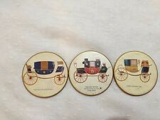 Set of 3 old coach model coasters The red Rover Traveling Coach Dress Chariot