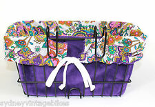 FUNKY PAISLEY BIKE BASKET LINER BAG Beach Cruiser Vintage Ladies RETRO BICYCLES