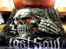 NEW 5 POUNDS SOFT QUEEN KOREAN MINK BLANKET Plush Throw SKELETON SKULL BLOOD INK