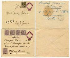 BRAZIL UPRATED STATIONERY 1921 RATES 200 + 450...2 ENVELOPES