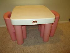 Vintage Little Tikes Pink Table with Drawers 2 Chunky Chairs Toddler Size Play