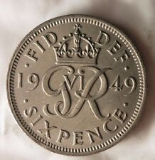 1949 GREAT BRITAIN 6 PENCE - Excellent Vintage Coin - BARGAIN BIN #159