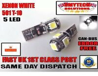 X2 Canbus 5 LED Xenon White Sidelights/numberplate VAUXHALL CORSA B,C,D 1994-10