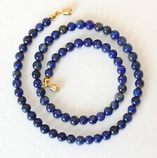 "6mm Natural Lapis Lazuli Necklace 16"". 6 mm Lapis Beads. Blue beaded necklace."