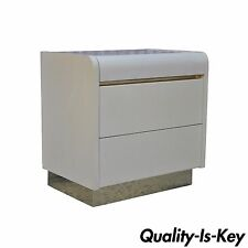 Vintage Mid Century Modern Lane Contemporary Ivory Brass Nightstand End Table