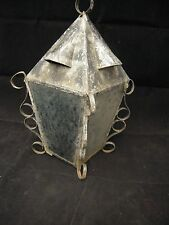 Antique SCONCE LAMP FOR PORCH OR POST NEWEL POST LIGHT Blue White Textured Glass