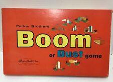 Vintage Parker Brothers Boom Or Bust Board Game 1959 Orange Box Incomplete