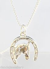 Medium Silver Evergleam Horse Head in Horse Shoe Pendant Necklace with Chain