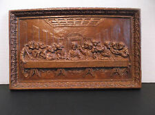Vintage THE LAST SUPPER Resin Relief Plaque 12 x 7 Inches w Info Sheet