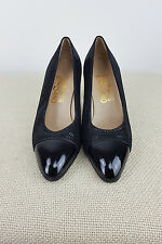 *SALVATORE FERRAGAMO* VINTAGE BLACK DOTTED PUMPS (6.5 C)