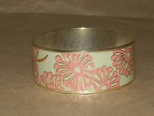 """Fossil Brand Goldtone Pale Green & Pink Coral Enamel Flower Bangle Bracelet 8.5"""""""