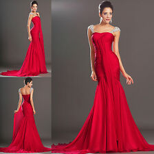 Elegant Red New Custom Made Chiffon Formal Long Mermaid Prom Evening Dress