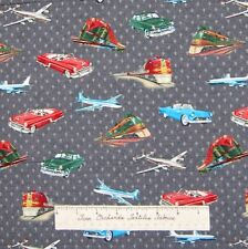 Country Fabric - Vintage Planes Trains Automobiles Toss Gray - Windham YARD