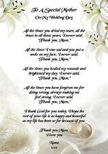 Wedding Day Thank You Gift, A Special Mother Poem A5 Photo Paper 260gms